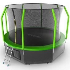 Батут EVO JUMP Cosmo 12ft (Green) с лестницей + нижняя сеть